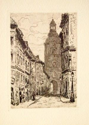 POZNAŃ. Fara Poznańska widziana z ul. Klasztornej; anonim, 1904; na verso opis z epoki: Pfarrkirche ...