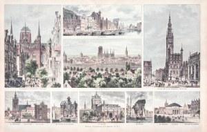 GDAŃSK. Widoki miasta w 9 sekcjach; według rys. Gottloba Theuerkaufa, ok. 1890; widoki przedstawiają ...