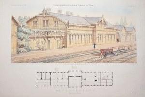 TORUŃ. Jeden z budynków dworcowych, w dole przekrój gmachu; lit. Nikoley, pochodzi z: Zeitschrift fü ...