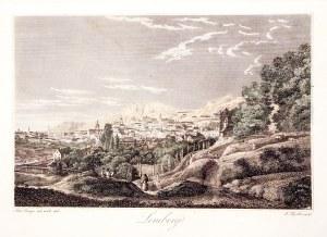 LWÓW. Panorama miasta; rys. A. Lange, ryt. J. Hyrtl, ok. 1840; stal. kolor., st. bdb.; wym.: 137x90 ...