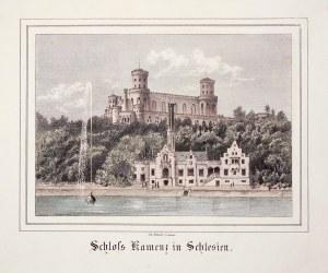 KAMIENIEC ZĄBKOWICKI. Panorama zamku; lit. Th. Busch, Zittau 1866; lit. kolor., st. bdb.; wym.: 136x ...