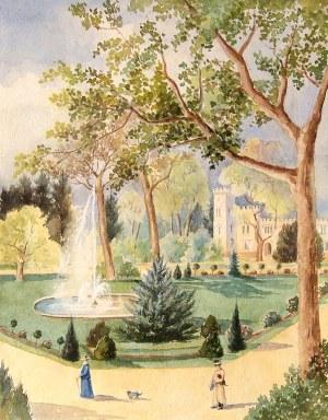 SZCZODRE. Widok pałacu z parkiem; 1902; akwarela, st. bdb.; wym.: 198x253 mm; opis na verso: Paulett ...