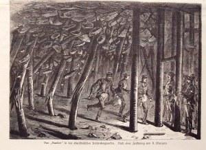 GÓRNY ŚLĄSK. Katastrofa w kopalni na Górnym Śląsku; rys. A. Wanjura, 1882; drzew. szt. cz.-b., st. b ...
