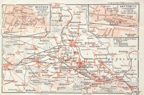 BYTOM, KATOWICE. Plan aglomeracji katowickiej; w górnych narożnikach plany Bytomia i Katowic; Geogra ...