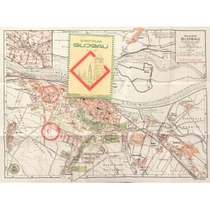 GŁOGÓW. Plan miasta; oprac. Paul Krakau, ok. 1930; druk kolor., st. bdb., wielokrotne złożenia, okła ...