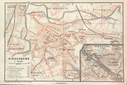 JELENIA GÓRA. Plan miasta; Geograph. Anstalt von Wagner & Debes, Lipsk, ok. 1860; podziałka 1:20 000 ...