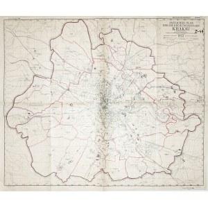 """KRAKÓW. Plan miasta; rys. M. Kubiczek, druk. """"Akropol"""" Kraków, 1943; podziałka 1:20 000; p ..."""
