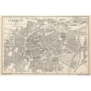 LEGNICA. Plan miasta; Geograph. Anstalt von Wagner & Debes, Lipsk, ok. 1860; podziałka 1:12 000; lit ...