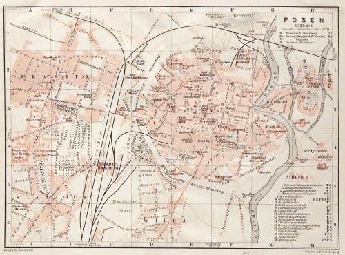 POZNAŃ. Plan miasta; Geograph. Anstalt von Wagner & Debes, Lipsk 1911; lit. kolor., st. bdb., passe- ...