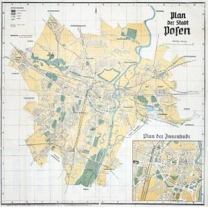 POZNAŃ. Plan miasta, składany; wyd. Ferdinand Hirt, Wrocław, NS-Gauverlag Wartheland, Poznań, Herman ...