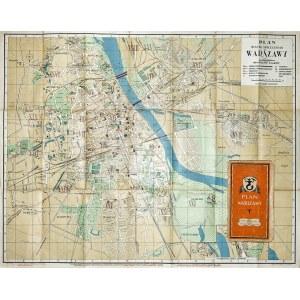 """WARSZAWA. Plan miasta, składany; nakład Polskiego Towarzystwa Księgarni Kolejowych """"Ruch"""" sp. akc. W ..."""