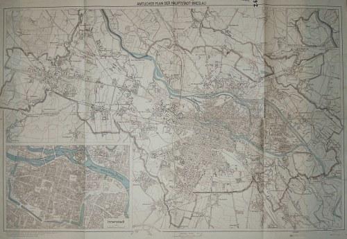 WROCŁAW. Plan miasta; druk. Willy Groβhen, Dortmund, oprac. 1939, uzupełniona 1943; podziałka ...