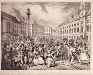 WARSZAWA. Porwanie dzieci uczestników powstania listopadowego; malował Nicolas Eustache Maurin, rys. ...