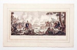 WIEDEŃ. Jan Sobieski dowodzący bitwą; ryt. Antonio Verico, pochodzi z: Zaydler, Bernardo, Storia del ...