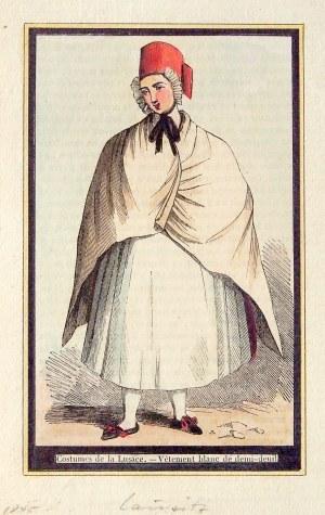 ŁUŻYCE. Strój pół-żałobny; anonim, 1845; drzew. szt. kolor., st. bdb.; wym.: 83x133 mm; Costumes de ...