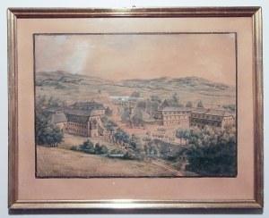 KUDOWA ZDRÓJ. Widok na najstarszą część uzdrowiska; akwarela wykonana w 1819 r. przez uczestnicząceg ...