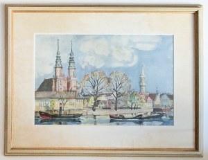 OPOLE. Nadodrzańska część miasta; malowała (Marie?) Lempik, 1943; w prawym dolnym narożniku sygn. au ...