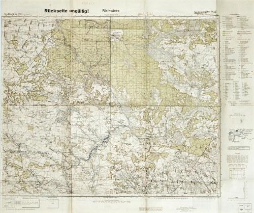 BIAŁOWIEŻA. Mapa okolic Białowieży; 1944, wydanie wojenne, do użytku służbowego; treść na podstawie ...