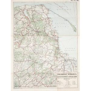 GDAŃSK, KASZUBY. Mapa Pomorza Gdańskiego i Kaszub; druk. Foto-Offset Zakład Graficzny Straszewiczów, ...