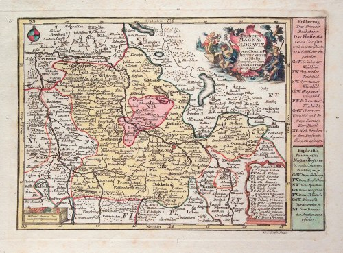 GŁOGÓW, BYTOM ODRZAŃSKI. Mapa Księstwa Głogowskiego i Baronatu Bytomskiego; ryt. G.F. Lotter, pochod ...