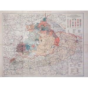 GÓRNY ŚLĄSK, ZAGŁĘBIE DĄBROWSKIE, GALICJA ZACHODNIA, ŚLĄSK CIESZYŃSKI. Mapa Górnośląskiego Okręgu Wę ...