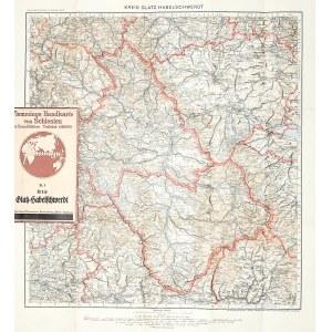 KŁODZKO, BYSTRZYCA. Mapa powiatu kłodzkiego i bystrzyckiego; pochodzi z: Flemmings Handkarte von Sch ...