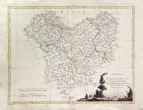 KRAKÓW, ŁĘCZYCA, SIERADZ, SANDOMIERZ, LUBLIN. Mapa woj. krakowskiego, sieradzkiego, łęczyckiego, san ...