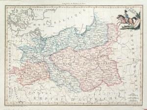 KSIĘSTWO WARSZAWSKIE. Mapa Księstwa Warszawskiego i Królestwa Prus; oprac. Pierre Lapie, pochodzi z: ...