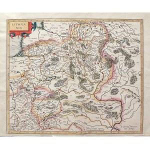 LITWA. Mapa Litwy; wyd. Gerard Mercator, opubl. po raz pierwszy w Atlantis pars altera, Duisburg 159 ...
