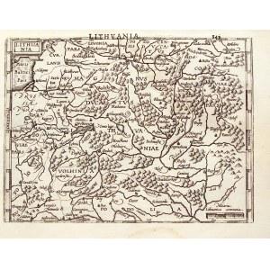 LITWA. Mapa Litwy – pomniejszona i uproszczona wersja mapy Litwy Gerarda Mercatora; pochodzi z: Atla ...