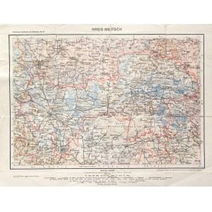 MILICZ. Mapa powiatu milickiego; pochodzi z: Flemmings Handkarte von Schlesien, Berlin ok. 1920; Geo ...