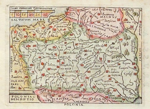 POLSKA. Mapa ziem polskich; pochodzi z: Ortelius, Abraham, Il Theatro del Mondo (Theatrum Orbis Terr ...