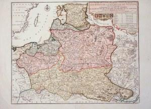 POLSKA. Mapa ziem polskich; ryt. P. Starckman, wyd. Nicolas de Fer, Paryż 1736; prawym górnym rogu r ...