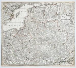 POLSKA, LITWA. Mapa Polski i Litwy, stan czwarty; ryt. i wyd. Matthäus Seutter, Augsburg, po 1741; p ...