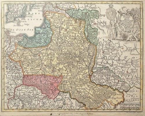 POLSKA, LITWA. Mapa Królestwa Polskiego i Wielkiego Księstwa Litewskiego; oprac. Matthäus Seutter, w ...