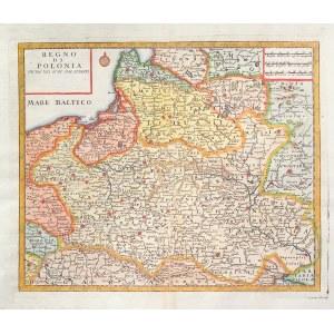 POLSKA, LITWA. Mapa Polski i Litwy; pochodzi z: Atlante novissimo, ryt. i wyd. Giambattista Albrizzi ...