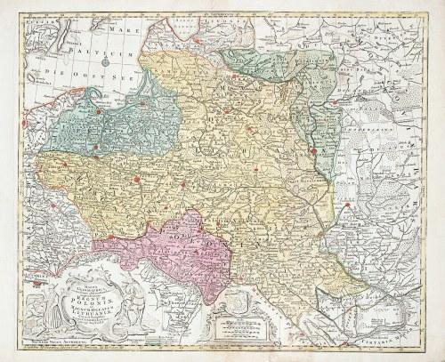 POLSKA, LITWA. Mapa Rzeczypospolitej Obojga Narodów; ryt. i wyd. Tobias Conrad Lotter, Augsburg 1772 ...