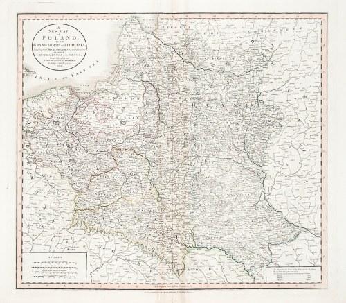 POLSKA, LITWA, GALICJA. Porozbiorowa mapa Polski, Litwy i Galicji; ryt. John Cary, Londyn 1799; stal ...