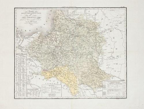 POLSKA, LITWA, GALICJA. Mapa Polski, Litwy, Galicji i Wolnego Miasta Krakowa z zaznaczonym granicami ...