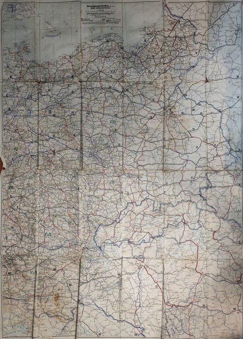 POZNAŃ, GDAŃSK, WROCŁAW. Mapa dróg tranzytowych tzw. Wschodnich Niemiec z włączonym do Rzeszy Krajem ...