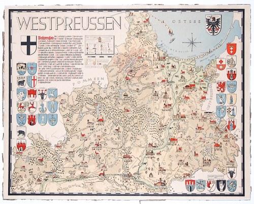 PRUSY WSCHODNIE. Mapa Prus Wschodnich; rys. niem. historyk, tłumacz, pisarz i grafik dr Hanns von Kr ...
