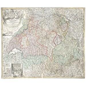 SZWAJCARIA. Mapa Szwajcarii; wyd. Johann Baptista Homann, Norymberga, po 1715; miedz. kolor., zdublo ...