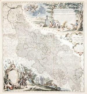 ŚLĄSK. Mapa Śląska; oprac. Johann Wolfgang Wieland i Matthäus Schubart, ryt. Johannes Condet i J. Pu ...