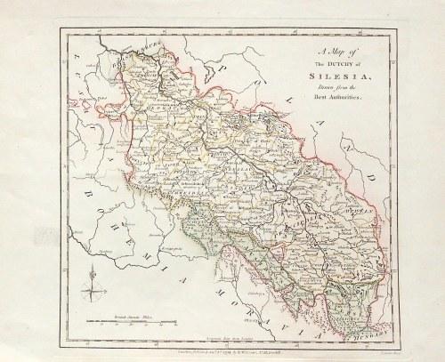 ŚLĄSK. Mapa Śląska; ryt. T. Cender, wyd. Robert Wilkinson, Londyn 1794; miedz. kolor., st. bdb.; wym ...