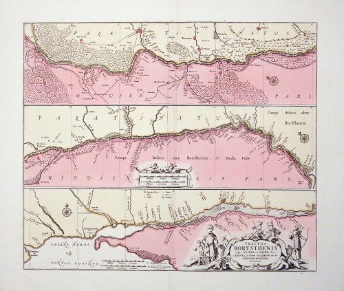 UKRAINA. Mapa biegu Dniepru od Kijowa do ujścia do Morza Czarnego w Oczakowie; wyd. Petrus Schenk i ...