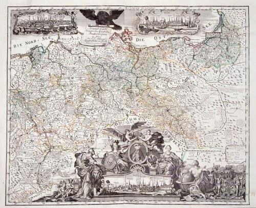 WROCŁAW, ŚLĄSK, KRÓLESTWO POLSKIE, KRÓLEWIEC, PRUSY. Mapa Królestwa Pruskiego; ryt. i wyd. Johann Da ...