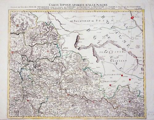 WSCHOWA, KOŚCIAN, GŁOGÓW. Mapa pogranicza polsko-śląskiego, obejmuje również starostwo we Wschowi ...