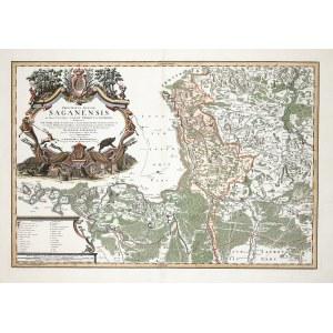 ŻAGAŃ. Mapa Księstwa Żagańskiego; oprac. Johann Wolfgang Wieland i Matthäus Schubarth, pochodzi z: A ...