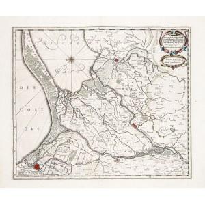 ŻUŁAWY WIŚLANE. Schematyczny plan Gdańska z mapą Żuław Wiślanych; oznaczono Żuławy Gdańskie, Malbors ...