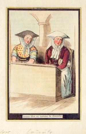 ŁUŻYCE. Młode kobiety w stroju odświętnym; anonim, 1845; drzew. szt. kolor., st. bdb.; wym.: 84x127 ...